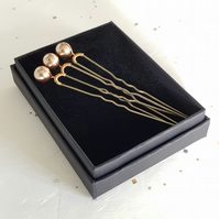 Set of Three Swarovski Pearl Bobby Hair Pins, Gold Plated, Bride & Bridesmaid
