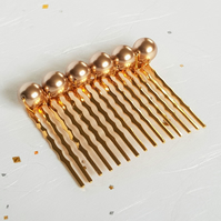 Gold-plated Bridal Hair Comb with Bronze Colour Swarovski Pearls