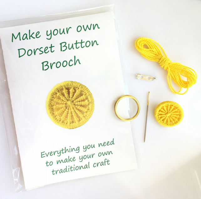 Make your own Dorset button brooch kit - yellow