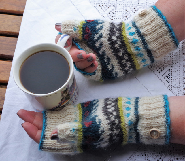 Hand knitted fair isle alpaca fingerless gloves