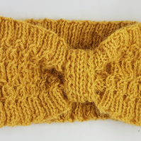 Handmade Hand knitted alpaca headband in mustard, raspberry or shocking  pink