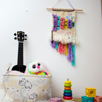 Handwoven pastel  xylophone nursery wall hanging with felt love my music words.