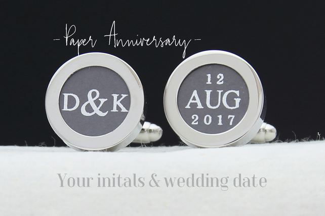 Paper Anniversary Gift for Him - Personalised Cufflinks