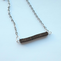 Hematite Square Heishi Bead Bar Necklace
