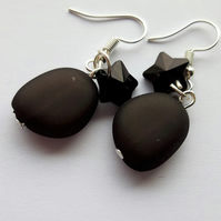 Unique Glass Pebble and Star Earrings