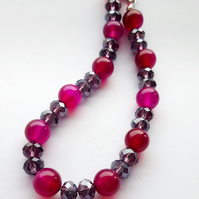 Purple and Pink Beaded Bracelet