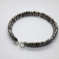 Shades of Grey Bangle made with Memory Wire