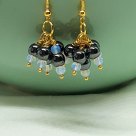 Hematite and Opal Dangle Earrings - October Birthstone