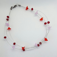 Red and Pink Beaded Floating Bracelet - Nature Jewellery