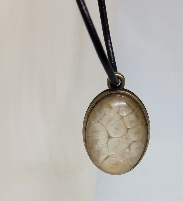 Brass Oval Statement Pendant with Faux Leather Cord - Fantasy Jewellery