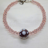 Pink Beaded Bracelet with Lampwork Bead Detail
