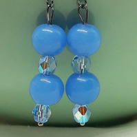 Beautiful Blue Glass Drop Earrings