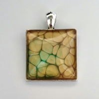 Gold and Green Statement Pendant - Faux Suede Thong - Fantasy Jewellery