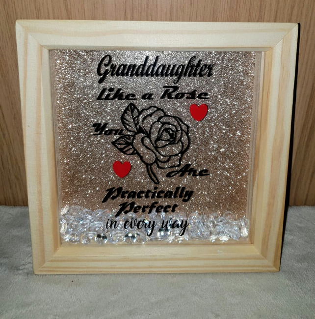 Granddaughter wood shadow box frame