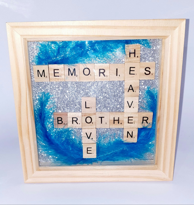 BROTHER HEAVEN scrabble shadow box frame