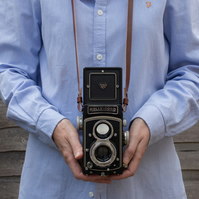 Leather camera TLR strap for Rolleicord, Rolleiflex , Yashica Mat, and more
