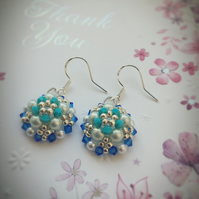 Beaded flower sterling silver  earrings