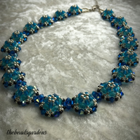 Beaded sparkly blue necklace