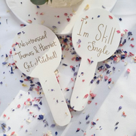 Personalised Wedding Photo Prop Paddles (Set of Two)