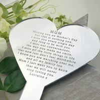 Remembering You On Mothers Day Heart Planter
