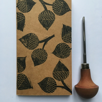 Mini Kraft Notebook or Sketchbook with Hand Printed Linocut Cover
