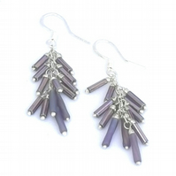 Sterling Lavender Tassle Earrings