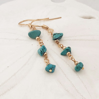 Turquoise Chip Earrings (Sterling)