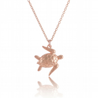 Sea Turtle Pendant Necklace In Rose Gold