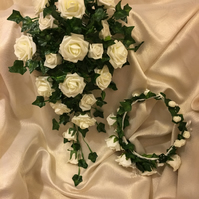 Wedding Bouquet & Flower Crown set