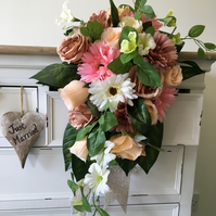 Wedding bouquet in pink, peach, taupe and ivory white - traditional style
