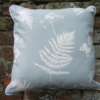 A Beautiful Piped Cushion Cover Featuring Ferns,  Grasses & Butterflies