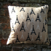 A Handmade Piped Cushion Cover Featuring The Eiffel Tower