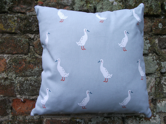 "A Stunning Handmade Cushion Cover In Sophie Allports "" Running Ducks """