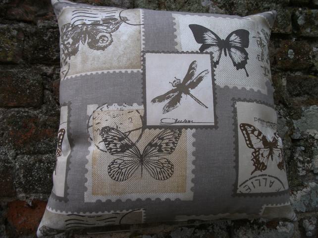 A Stunning Cushion Cover With Butterflies and Dragonflies