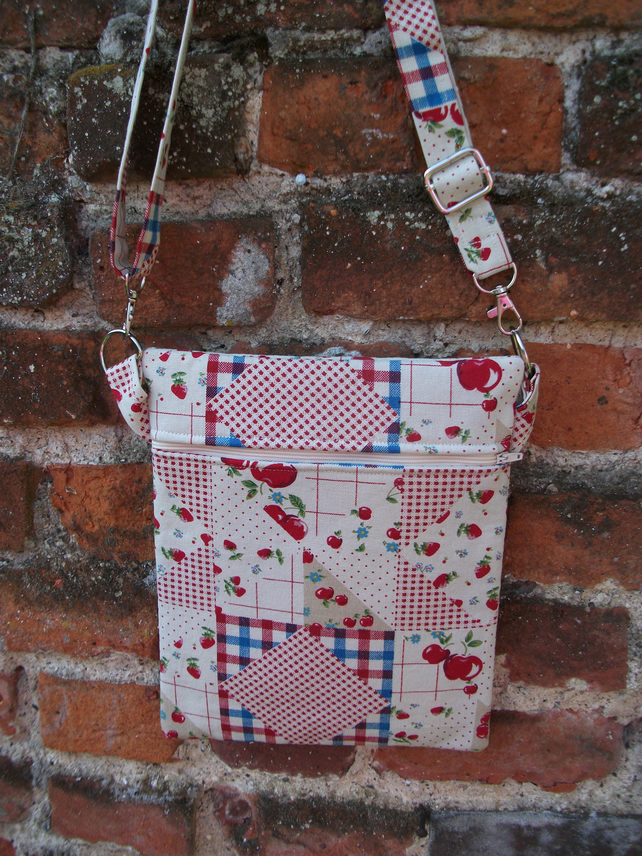 A Shoulder, Tote, Messenger, Travel, Cross Body Bag With Red Cherries