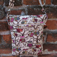 A Shoulder, Tote, Messenger, Travel, Cross Body Bag With Quirky Owls