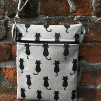 A Shoulder, Tote, Messenger, Travel, Cross Body Bag with Black Cat Silhouettes