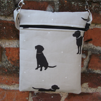 A Shoulder, Travel, Tote, Messenger, Cross Body Bag With Labrador Silhouettes