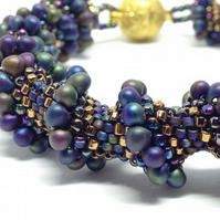 Cellini spiral bracelet in purples and blues
