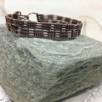 Man's copper chequerboard bangle bracelet