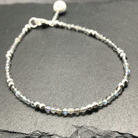 Dainty silver and Labradorite gemstone diffuser bracelet