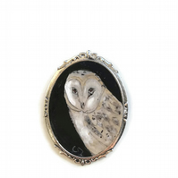 Painted owl brooch
