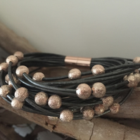 Leather Multi Strand Statement Bracelet