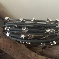 Beautiful Grey Beaded Multi Strand Leather Boho Bracelet