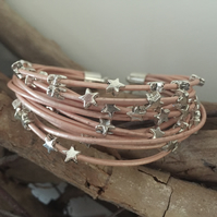 Beautiful Metallic Pink Beaded Multi Strand Leather Boho Bracelet
