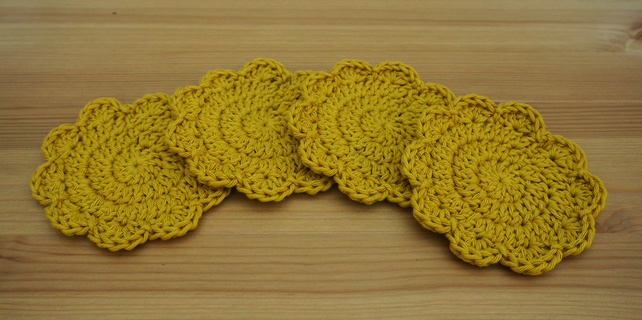 Set of 4 handmade crochet coasters 100% cotton. Mustard colour.