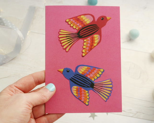 Mexican Love Birds Engagement Card