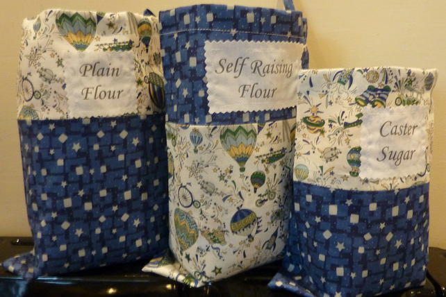 Storage bags - Three handmade cotton bags with draw string