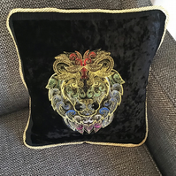 Handmade embroidered lion cushion