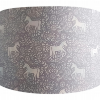 Grey Scandinavian Unicorn Lampshade - Light Shade Vintage Home House Mystical